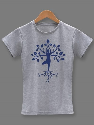 yoga tree pose t-shirt for women on a hanger