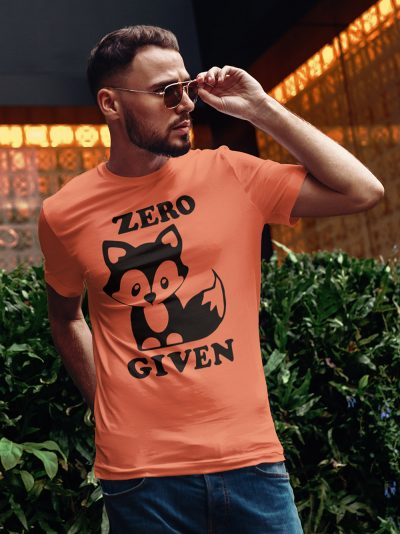Man wearing zero fox given t-shirt