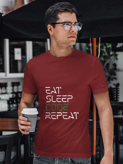 Buy Coder T-shirt for men. Model wearing eat sleep code repeat t shirt