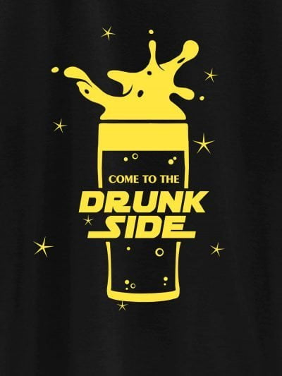 close up of drunk side t-shirt for men