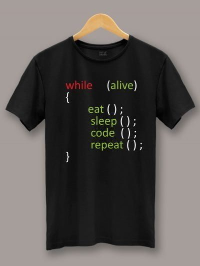 Buy Eat Code Sleep Repeat T-shirt displayed on a hanger