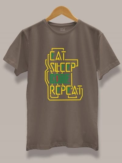 Buy Men's Eat Sleep Code Repeat tee, Displayed on hanger