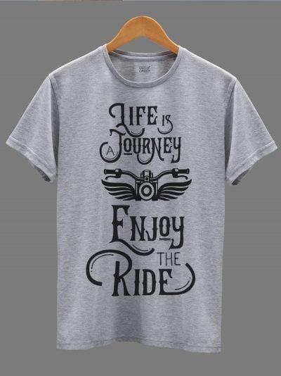 men's Enjoy the Ride T-shirt displayed on a hanger