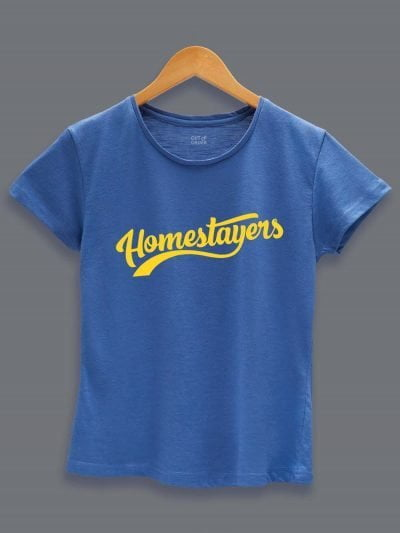 Home Stayers Quarantine T-shirt for Women Displayed on a hanger