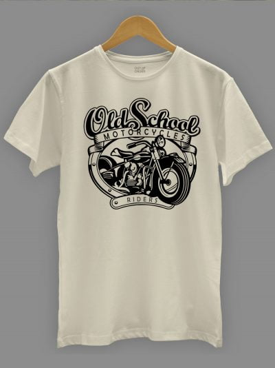 men's Old School Motorcycle T-shirt displayed on a hanger