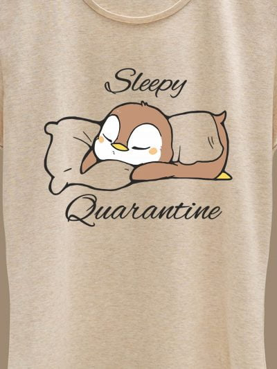 close up of Sleepy Quarantine women's t-shirt