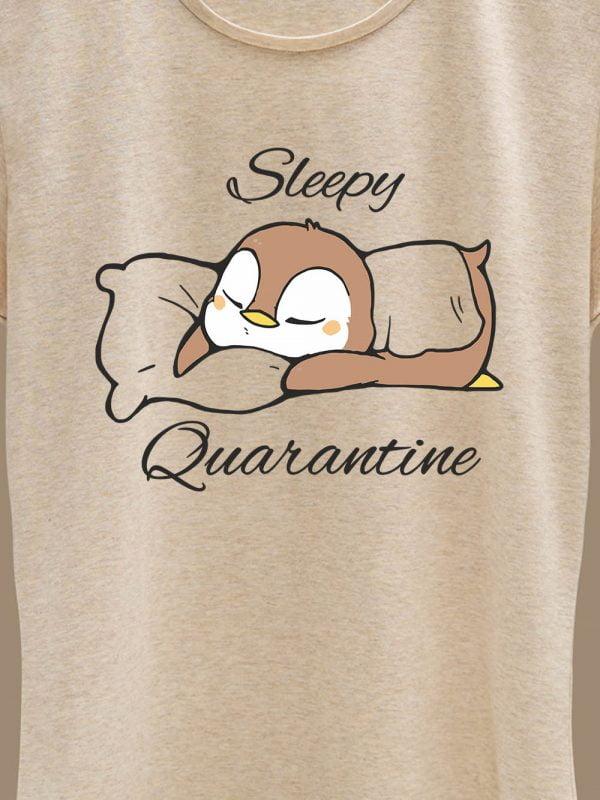 close up of Sleepy Quarantine women's t-shirt