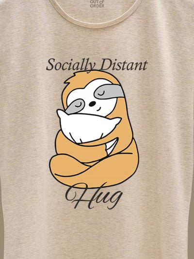 close up of Socially Distant Hug T-shirt for Women