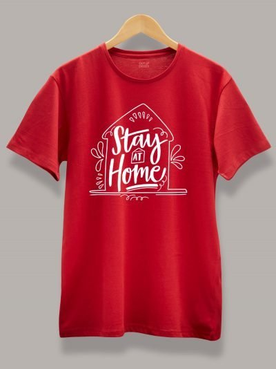 Men's Stay at Home T-shirt Red, Displayed on a hanger