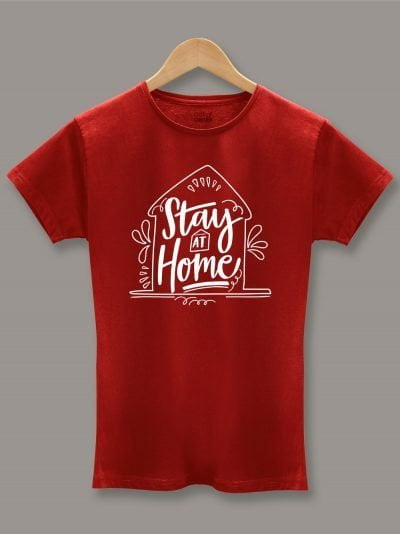 Women's Stay at Home T-shirt red, displayed on a hanger