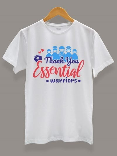 thank you essential workers t-shirt for men, displayed on a hanger