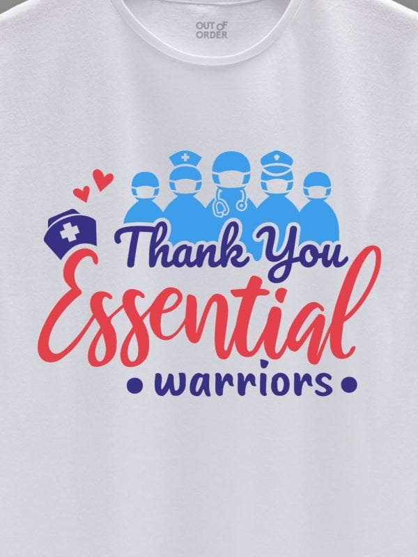 close up of thank you essential workers t-shirt