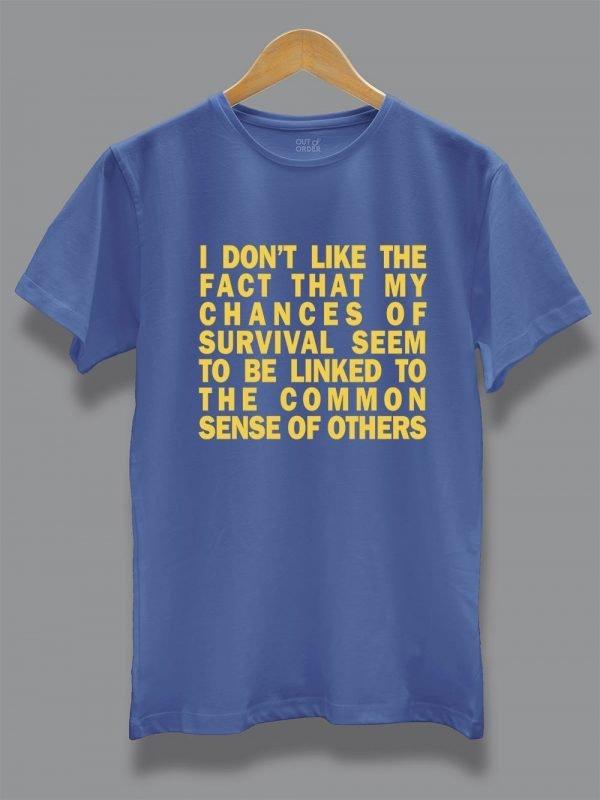 common sense quarantine t-shirt displayed on a hanger