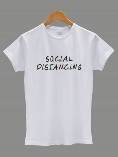 friends social distancing t-shirt for women, displayed on a hanger
