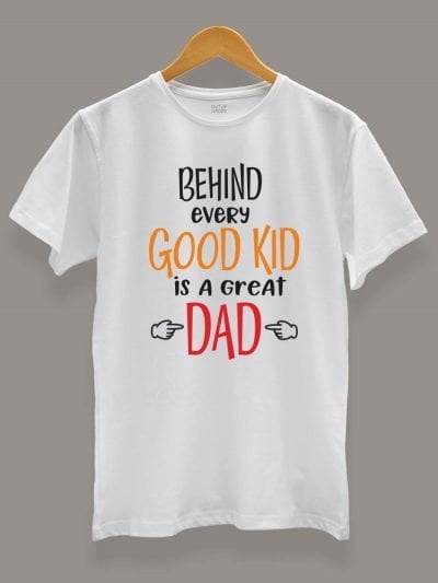 Buy Good Kid Great Dad T-shirt, displayed on a hanger