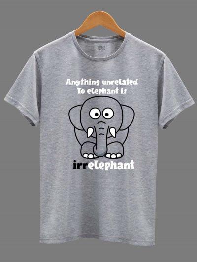 Irrelephant Men's T-shirt displayed on a hanger