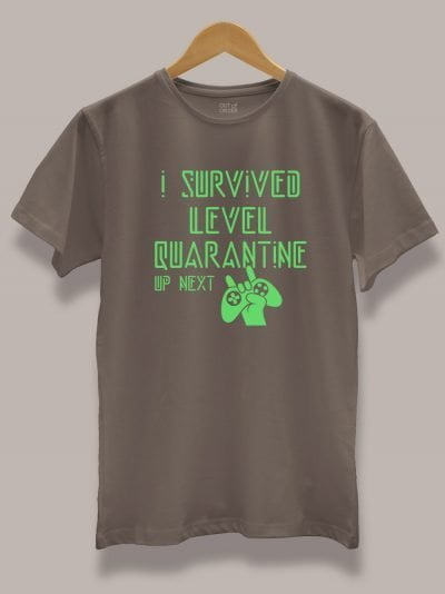 level quarantine t-shirt for Men, displayed on a hanger