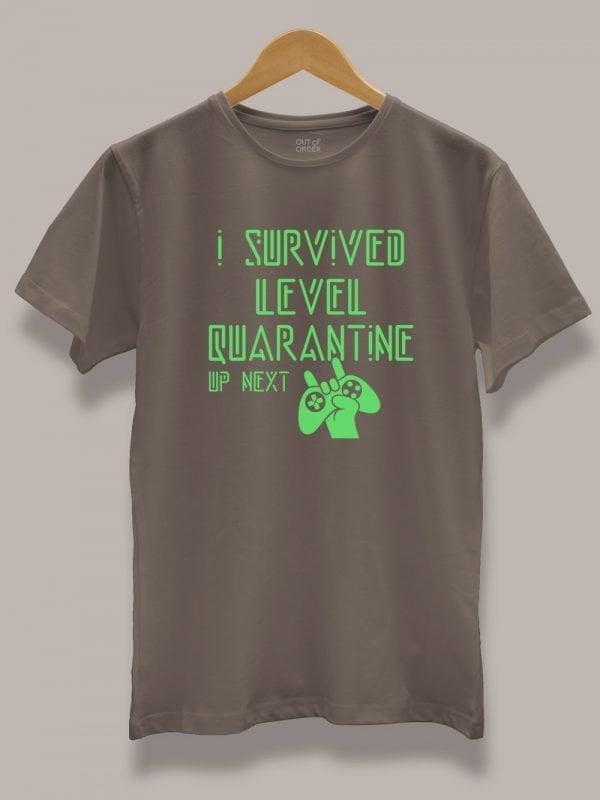 level quarantine t-shirt for Men, displayed on a hanger