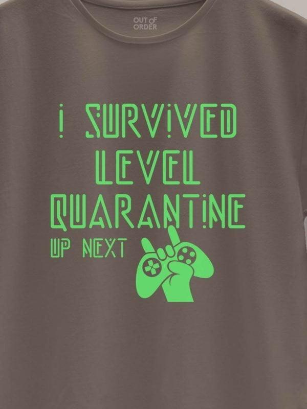 close up of level quarantine t-shirt