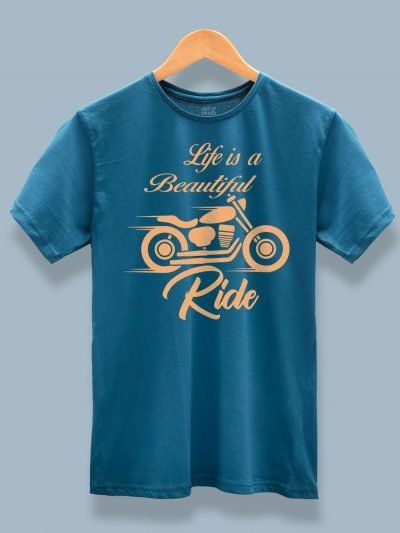 Life is a Beautiful Ride T-shirt on a wooden hanger