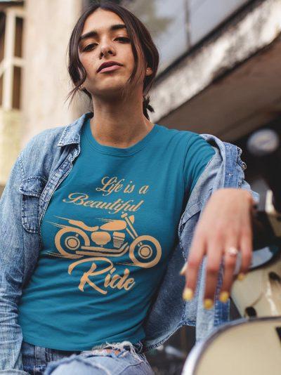 A Girl wearing Men's Life is a Beautiful Ride T-shirt