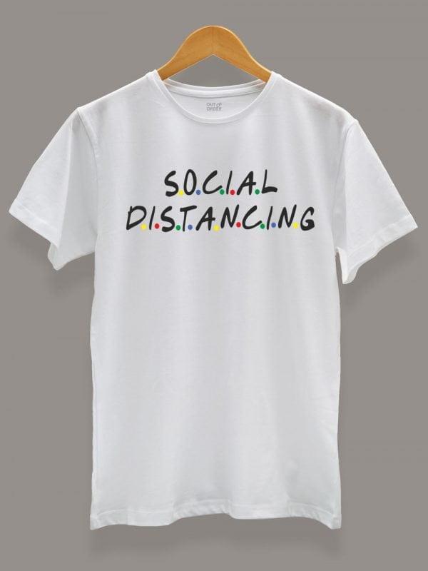 friends social distancing t-shirt for men displayed on a hanger