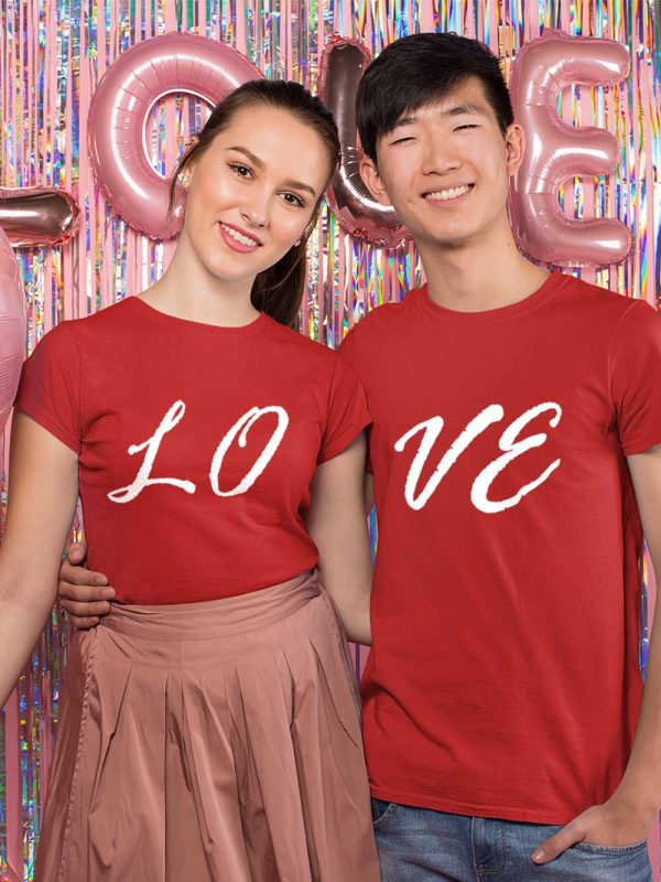 models wearing T shirt couple love
