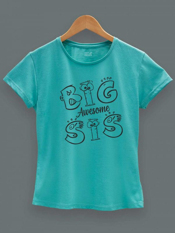 Buy Awesome Big Sis T-shirt displayed on a hanger