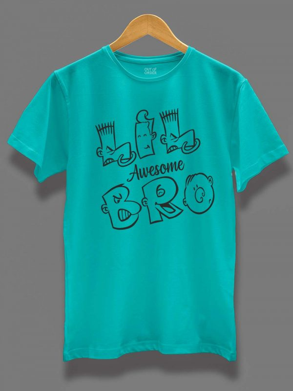 Buy Awesome Little Bro T-shirt displayed on a hanger