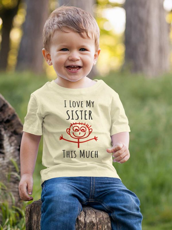 Kid wearing I Love My Sister T-shirt Kids, available for sale.