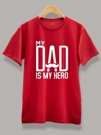 Buy My Dad is My HERO T-shirt displayed on a hanger