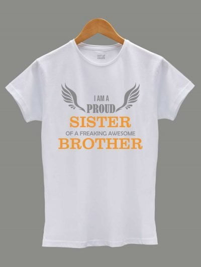 Buy Proud Sister T-shirt, displayed on a hanger