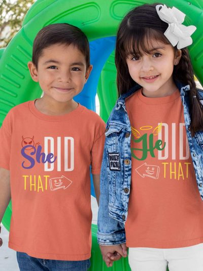boy and girl wearing she did that kids t-shirt, available for sale