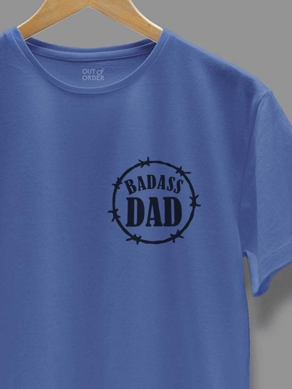 Bad Ass Dad T-shirt in Blue zoomed