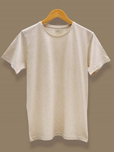 Cream color t-shirt for men on a hangar