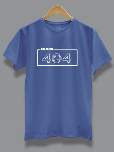 Buy error 404 t-shirt in blue, displayed on a hanger