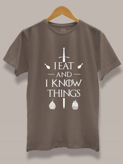 Buy I Eat and I Know Things T-shirt displayed on a hanger