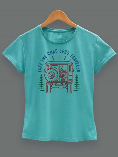 Buy Take the Road less Traveled T-shirt Women's, displayed on a hanger