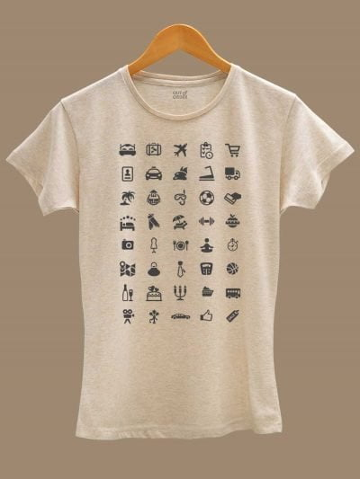 Buy Women's Travel T-shirt with 40 Icons displayed on a hanger