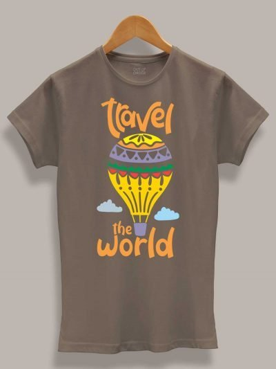 Women's travel the world t-shirt, displayed on a hanger