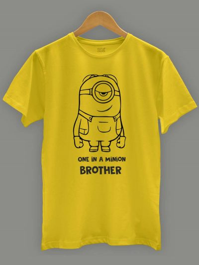Buy, One in a Minion Brother T-shirt, displayed on a hanger