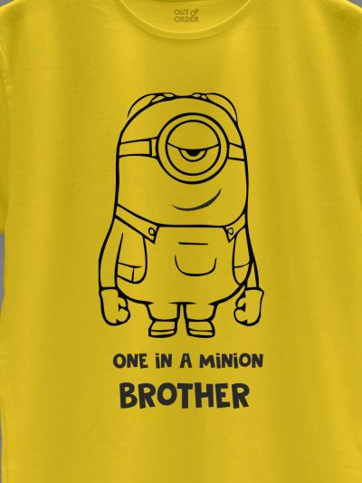 close up of One in a Minion Brother T-shirt