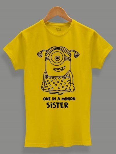 buy, One in a Minion Sister T-shirt, displayed on a hanger