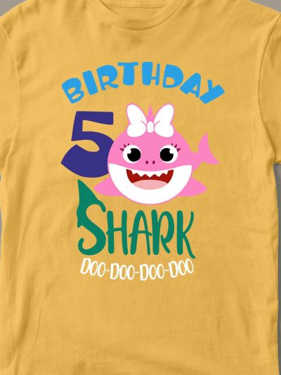 close up of Baby Shark Birthday T-shirt for Girl design