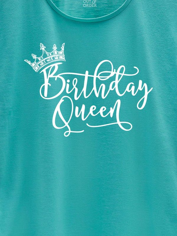 close up of birthday queen t-shirt design