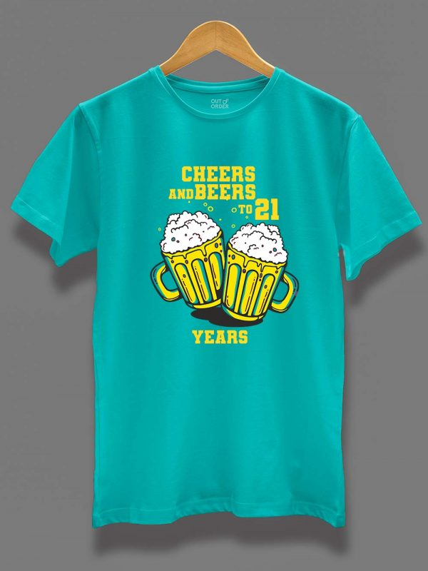 Buy Cheers and Beers Men's Birthday T-shirt displayed on a hanger