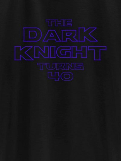 close up of Dark Knight turns 40 men's t-shirt design