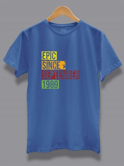 Buy Epic Since men's birthday t-shirt displayed on a hanger