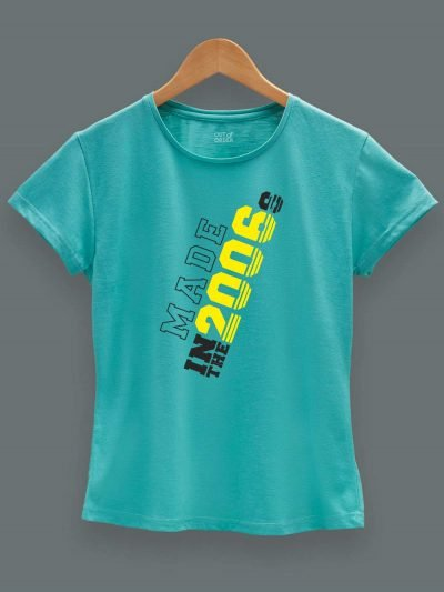 Buy Made in Year Women's Birthday T-shirt displayed on a hanger