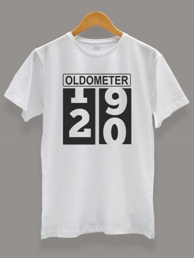 Buy Oldometer Men's Birthday T-shirt displayed on a hanger